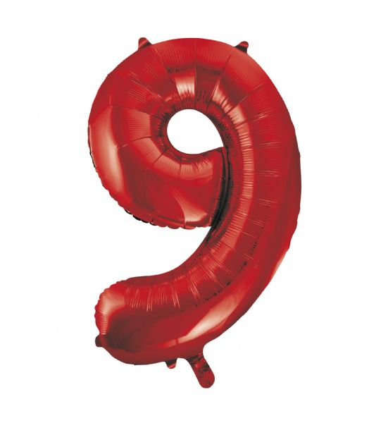 Red Number 9 Foil Balloon
